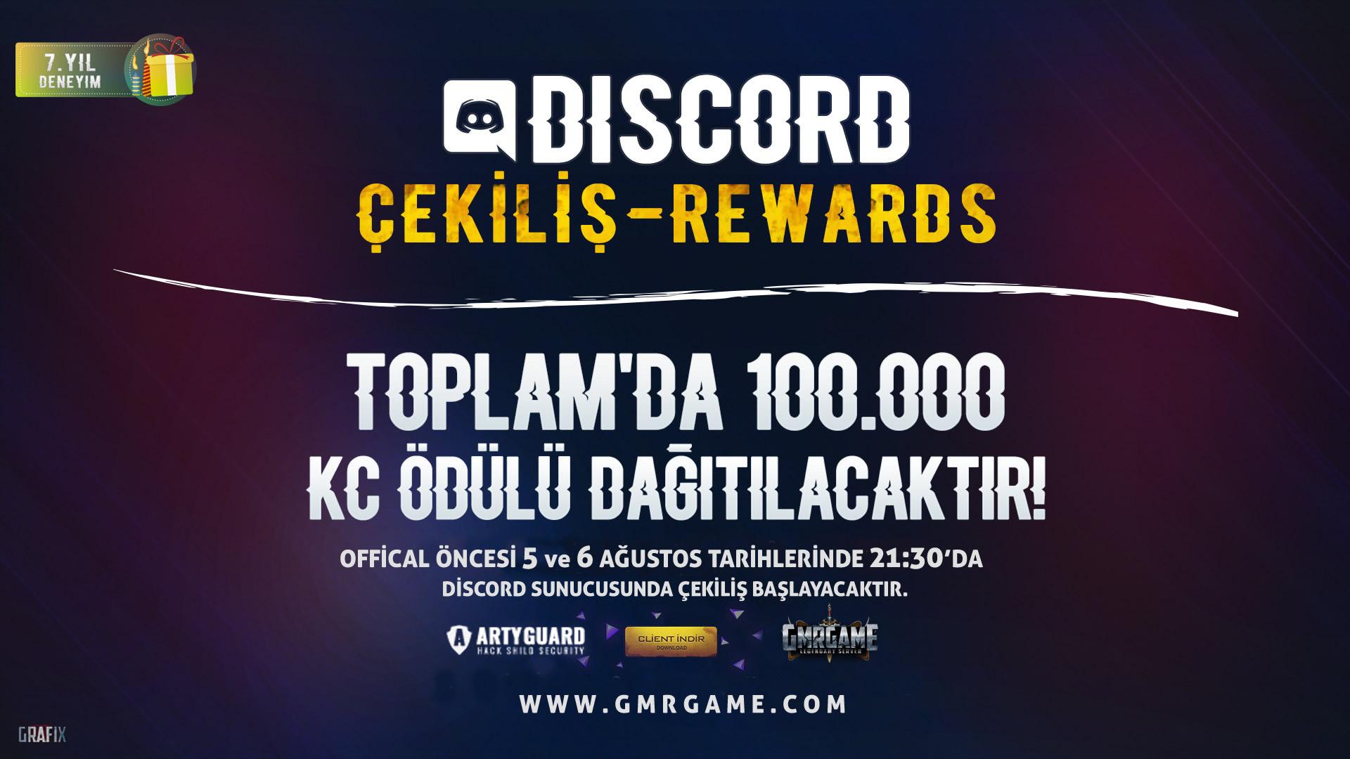 DISCORD TOPLAM 100.000 KC ÇEKILIŞI (05.08.2020 - 21:30) (06.08.2020 - 21:30) - GmrGame